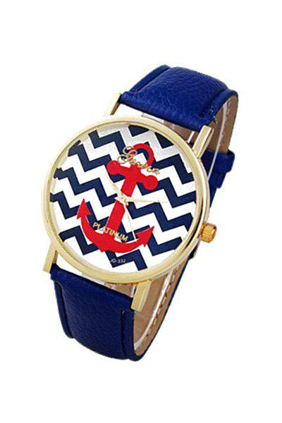 Cute Wave Pattern Anchor Design Watch For Women - BLUE