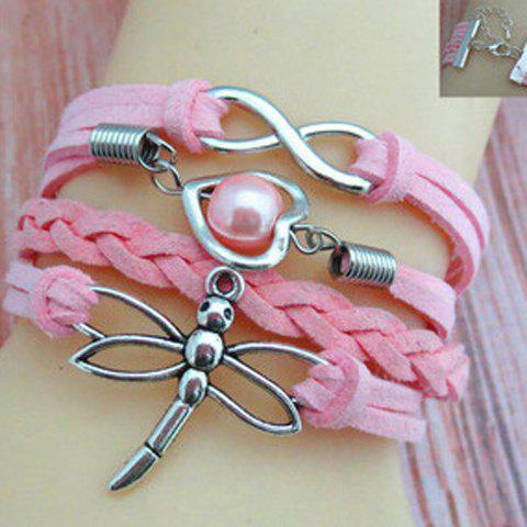 Faux Pearl Dragonfly Infinity Heart Friendship Bracelet - COLOR ASSORTED