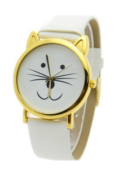 Cute Kitten Shape Watch For Women - WHITE