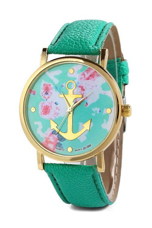 Charming Anchor Design Printed Watch For Women - MINT GREEN