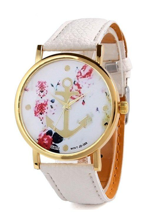 Charming Anchor Design Printed Watch For Women - WHITE