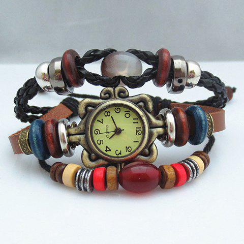 Stylish Classic Women's Beads Chain Design Bracelet Watch - COLORMIX