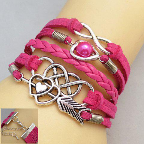 Infinity Heart Faux Pearl Multilayer Friendship Bracelet - COLOR ASSORTED