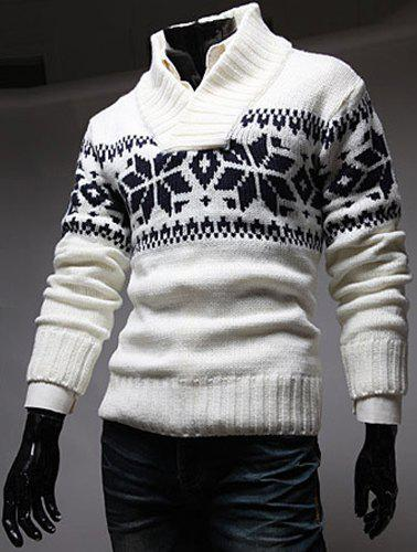 Fashion Christmas Snowflake Jacquard Stand Collar Long Sleeve Slimming Men's Polyester Sweater - WHITE M