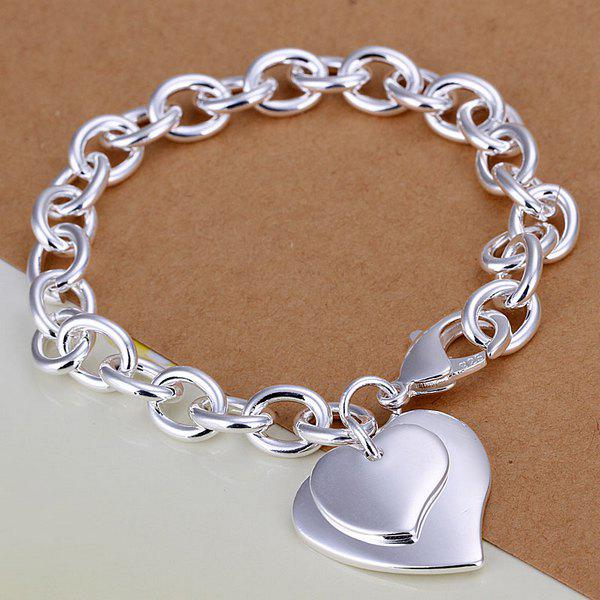 Trendy Double Hearts Pendant Thick Bracelet -  8 INCHS