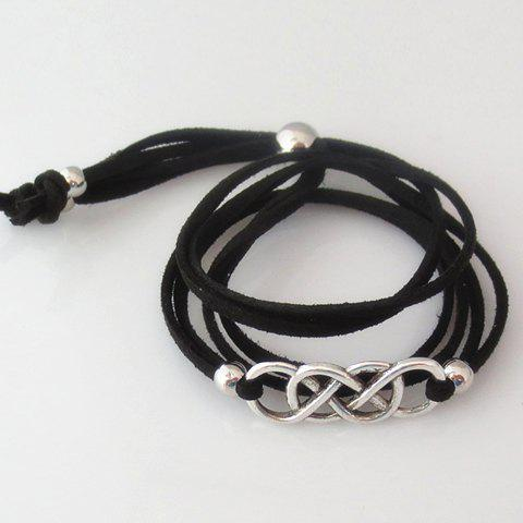 Twisted Circle Embellished Rope Charm Bracelet - BLACK
