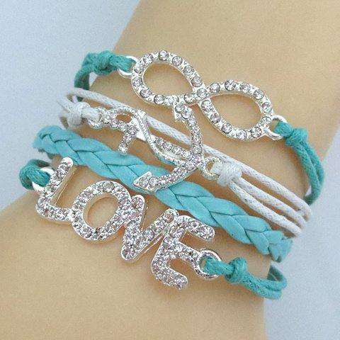 Rhinestone Anchor Infinity Love Friendship Bracelet - BLUE