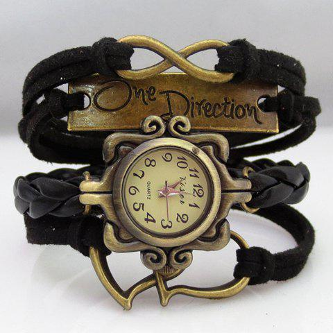 Punk Style Multi-Layered Women's Friendship Bracelet Watch - BLACK