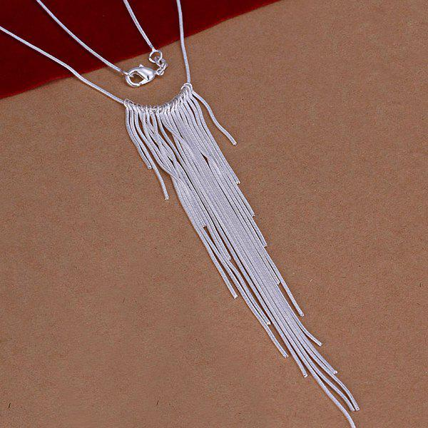 Stylish Ladies Silver Plated Tassel Necklace -  18INCHS