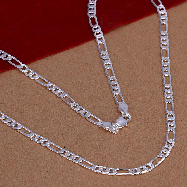 4mm Stylish Men's  Silver Plated Figaro Chain Necklace -