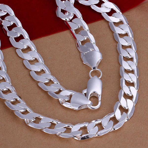 12mm Stylish Men's  Silver Plated Link Chain Necklace