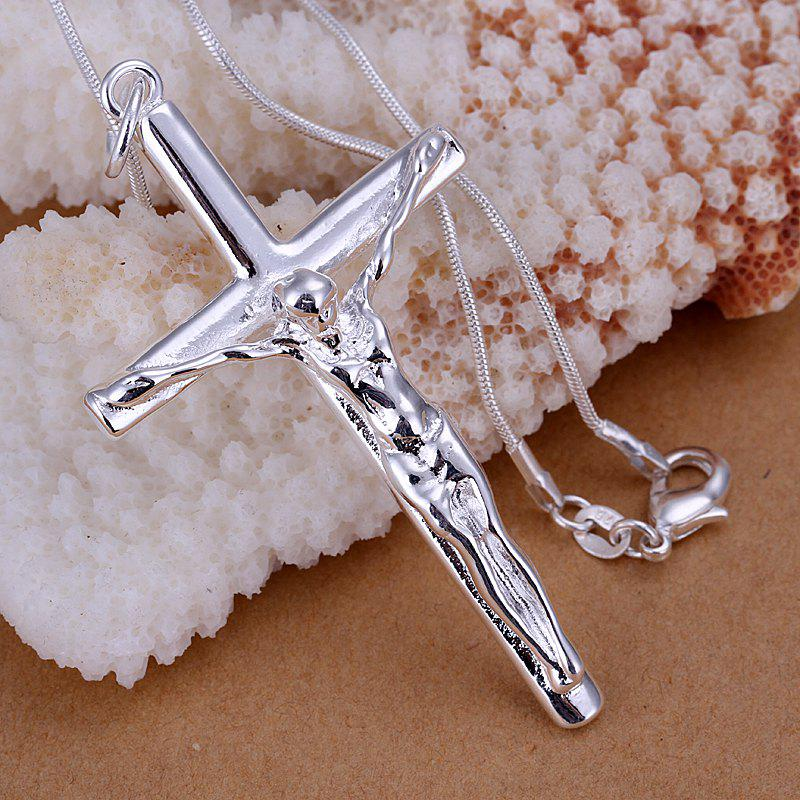 Stylish Jesus Cross Silver Plated Pendant For Man Without Chain - 6.9*3.6CM