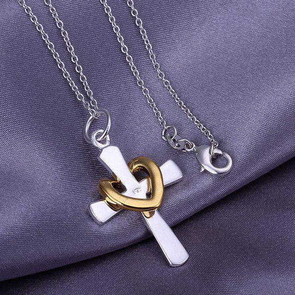 Stylish Heart Cross Silver Plated Pendant(without the chain)