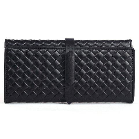 Gorgeous PU Leather and Checked Design Wallet For Women - BLACK
