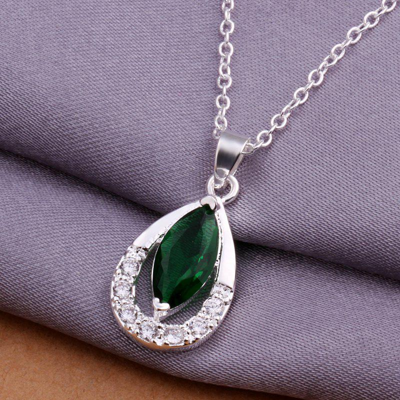 Stylish Silver Plated Artificial Emerald Pendant -  P:2.5X1.2CM