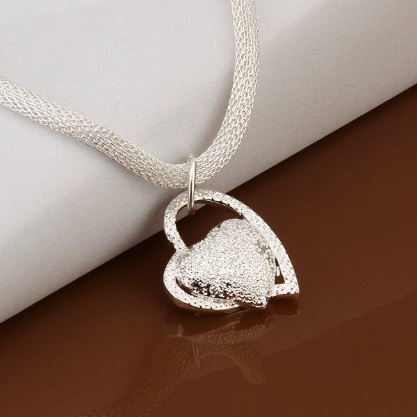 Stylish Heart Silver Plated Snake Chain Necklace -