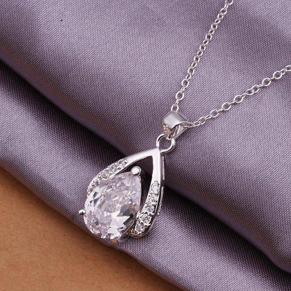 Water Drop Silver Plated Necklace -