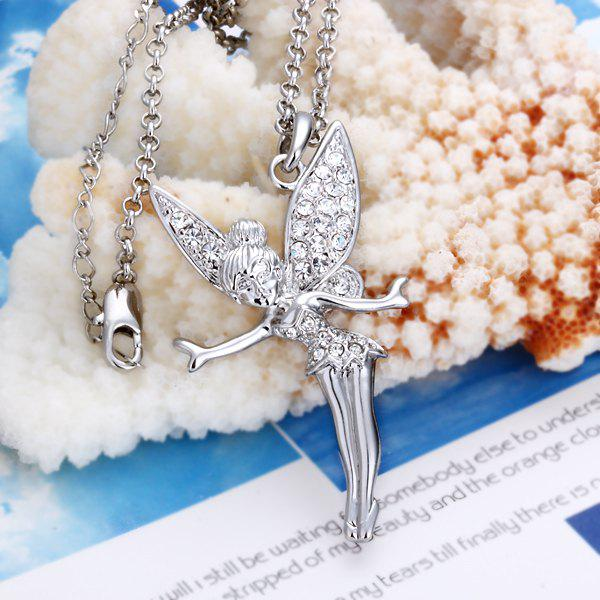 Fairy Rhinestoned Platinum Plated Necklace -