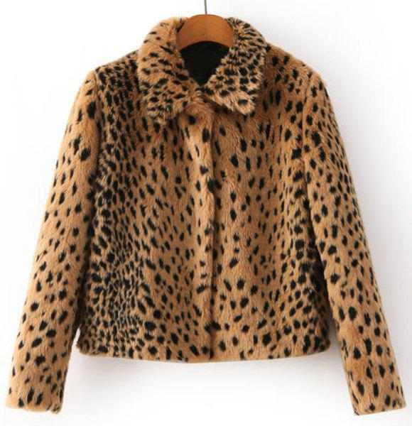 Polo Collar Leopard Pattern Fashionable Long Sleeve Coat For Women - AS THE PICTURE S