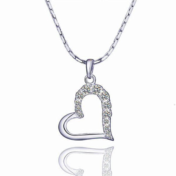 Trendy  Rhinestoned Heart Platinum Plated Necklace -
