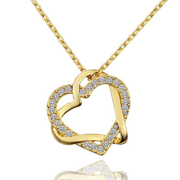 Fashionable Rhinestoned Gem Heart Gold Plated Necklace -