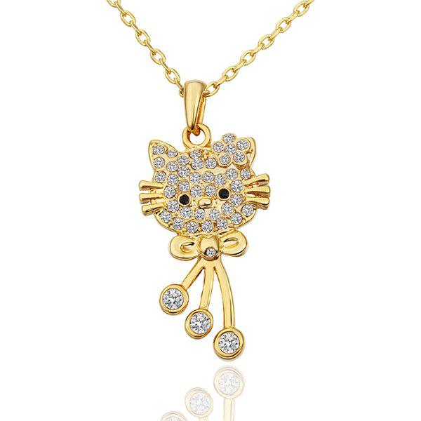 Stylish Rhinestoned Gold Plating Necklace -
