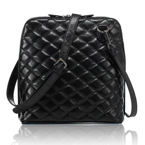 Gorgeous Checked and Zipper Design Crossbody Bag For Women - BLACK