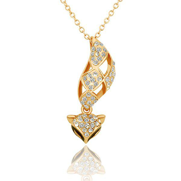Stylish Rhinestoned Cute Little Fox Gold Plated Necklace -