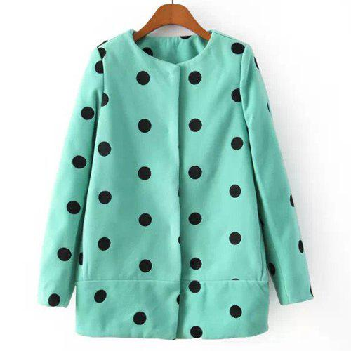 Sweet Polka Dot Print Round Collar Worsted Long Sleeve Coat For Women - GREEN L