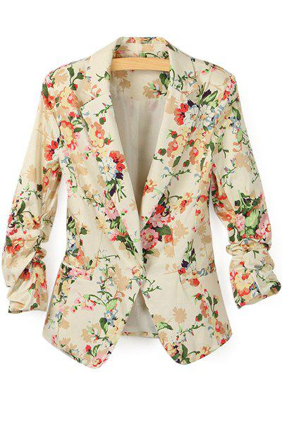Trendy Style Long Sleeve Lapel Neck Floral Print Slimming Women's Blazer - APRICOT S