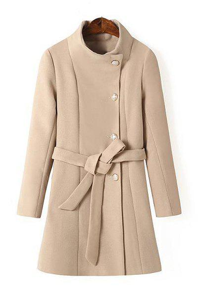Brief Solid Color Stand Collar Single-Breasted Long Sleeve Coat with Belt For Women - KHAKI L
