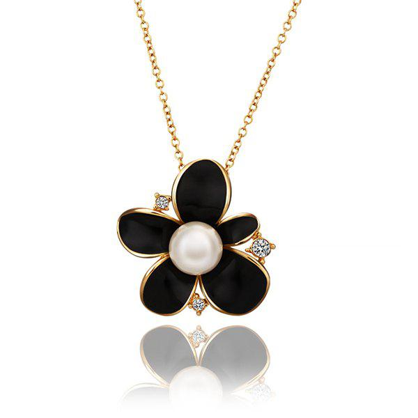 Stylish Rhinestoned Black Floral Pearl Gold Plating Necklace -