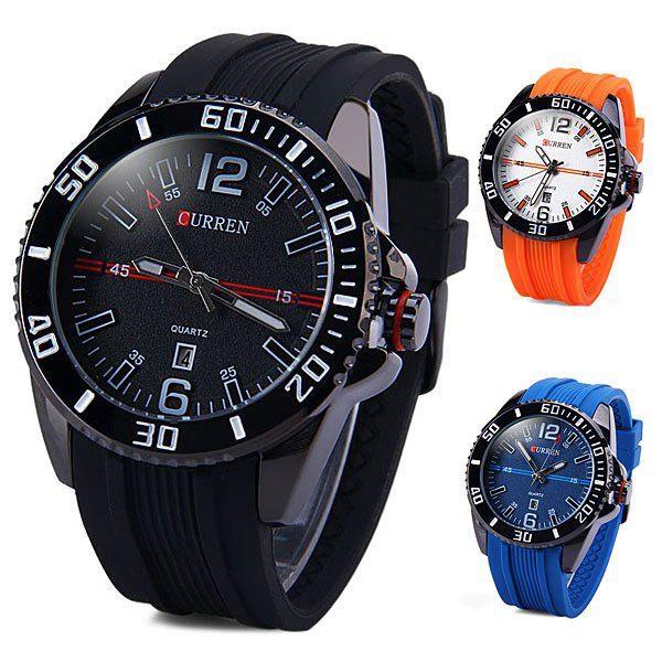 Curren 8178 Male Quartz Watch Day Rubber Band Round DialWatches<br><br><br>Color: BLACK