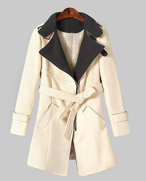 Lapel Contrast Color Belt Fashionable Long Sleeve Coat For Women - OFF WHITE XL