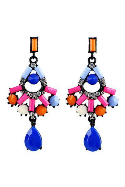 Pair of Faux Gem Drop Earring - COLORFUL