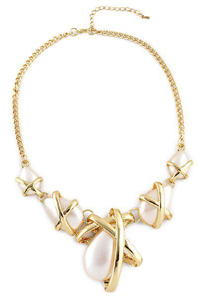 Faux Pearl Embellished Necklace - AS THE PICTURE