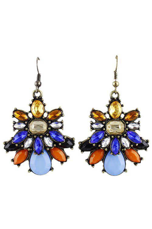 Pair of Faux Gemstone Pendant Earring - AS THE PICTURE