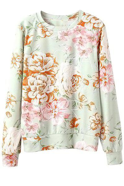 Stylish Long Sleeve Round Collar Letter and Floral Print Women's Sweatshirt - LIGHT GREEN L