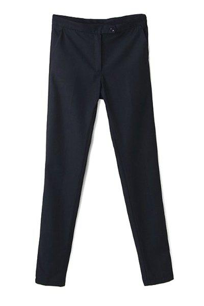 Simple Style Narrow Feet Solid Color High Waisted Slimming Women's Pants - BLACK L