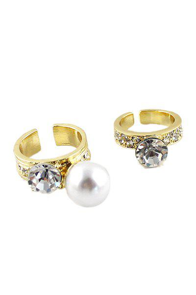 2PCS Rhinestone and Faux Pearl Cuff Rings - GOLDEN ONE-SIZE