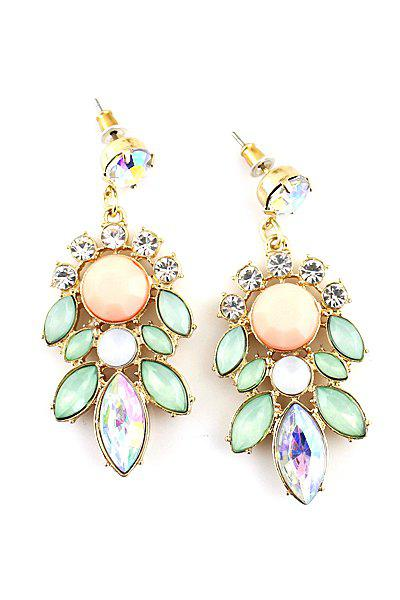Pair of Faux Gemstone Flower Earring - AS THE PICTURE
