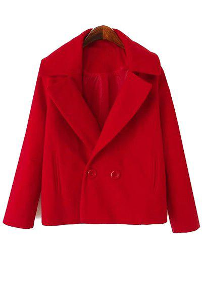 Simple Style Lapel Collar Long Sleeve Solid Color Worsted Women's Coat - RED M
