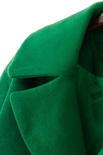 Simple Style Lapel Collar Long Sleeve Solid Color Worsted Women's Coat - GREEN XL