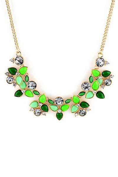 Gemstone Embellished Flower Necklace - COLOR ASSORTED