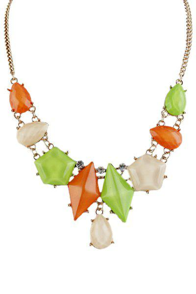 Faux Gem Geometric Necklace - AS THE PICTURE