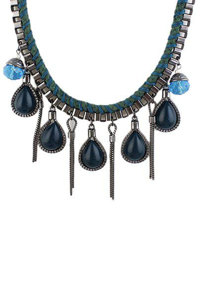 Faux Gem and Tassel Necklace - GREEN