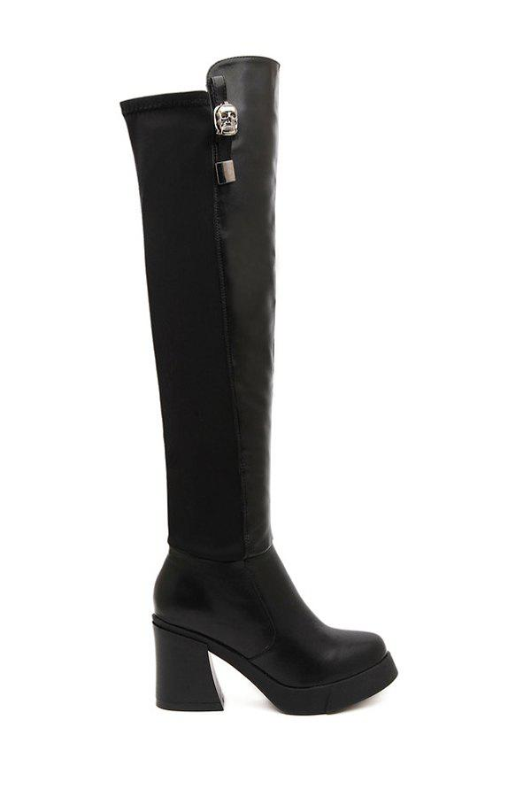 Stylish Black and Metallic Design Women's Thigh Boots - BLACK 35