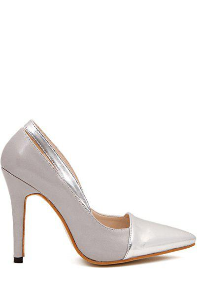 Elegant Pointed Toe and Sexy High Heel Design Women's Pumps - GRAY 35