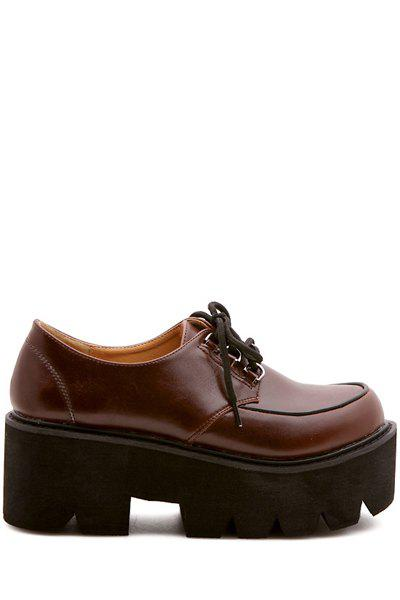Preppy Round Toe and Wedge Heel Design Women's Platform Shoes - BROWN 35