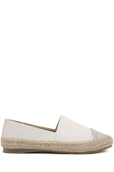 Simple Style Color Block and Weaving Design Women's Flat Shoes - WHITE 38